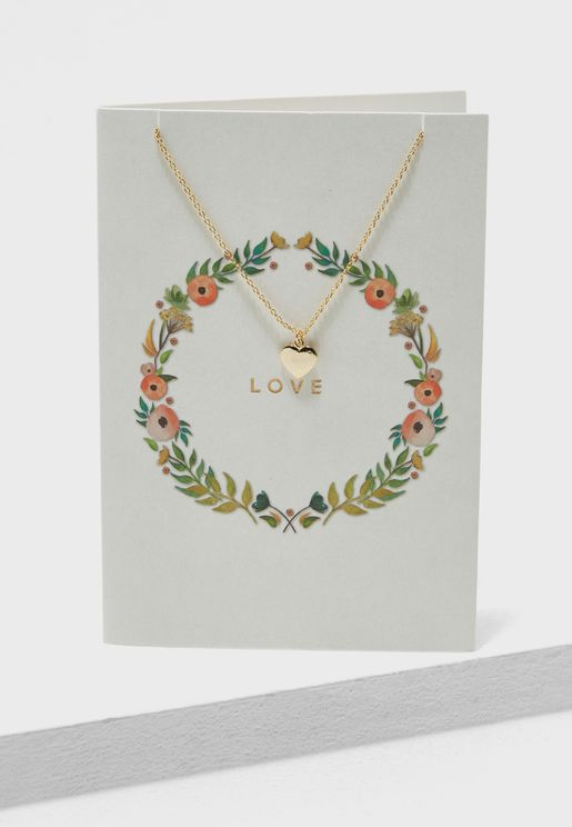 Floral Love Heart Necklace Giftcard