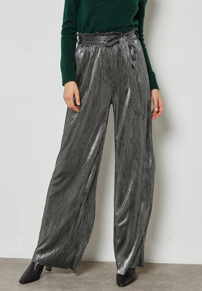 Metallic Pleated Pants