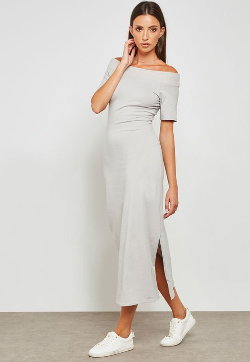 Keyhole Back Bardot Midi Dress