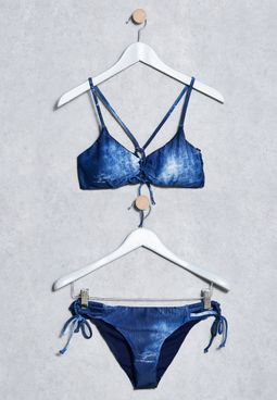 Lace Up Denim Bikini Set
