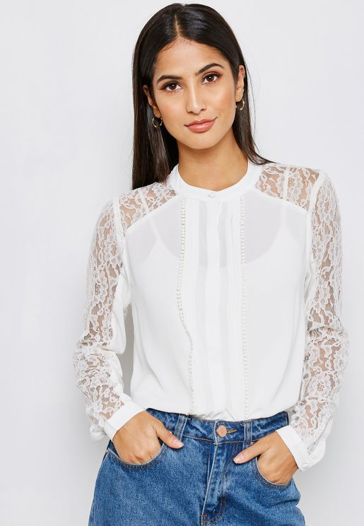 Lace Detail Long Sleeve Top
