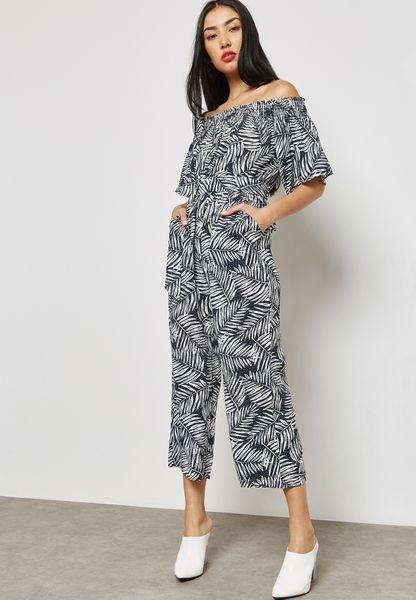 Printed Bardot Jumpsuit