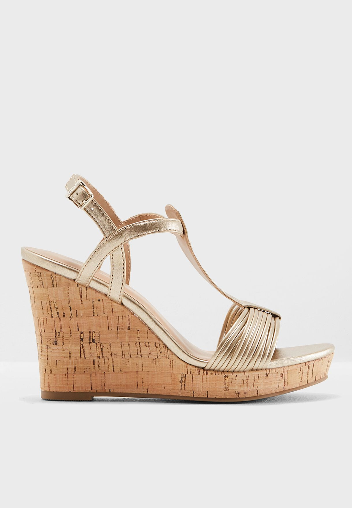 be28ebfa4e00 Shop Tommy Hilfiger gold Refined Strappy Wedge Sandal FW0FW03369 for ...