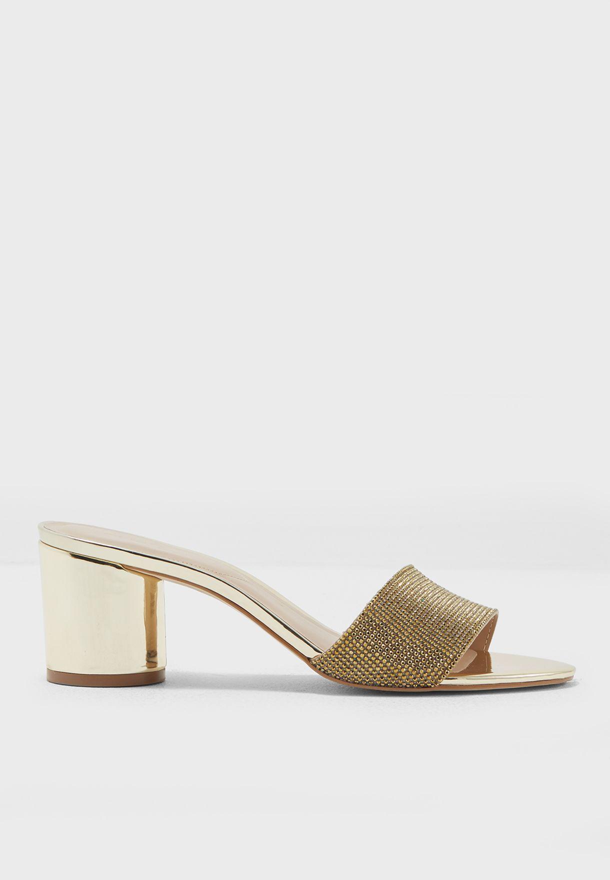 42d03dc1f0 Shop Aldo gold Mid Heel Mule Sandal COSENTINI82 for Women in Saudi ...