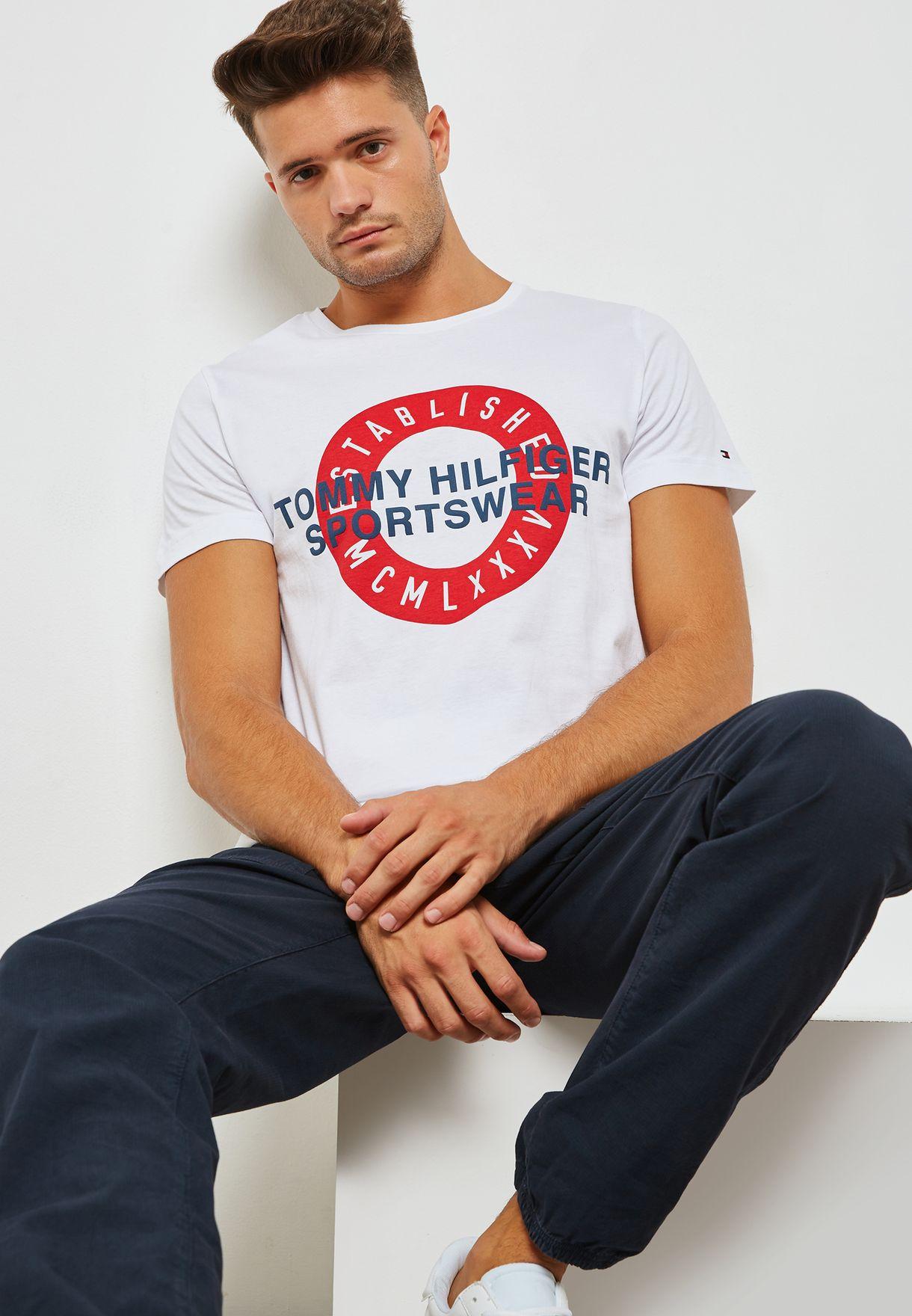 66b700286b Shop Tommy Hilfiger white Direct Circle T-Shirt MW0MW08077100 for ...