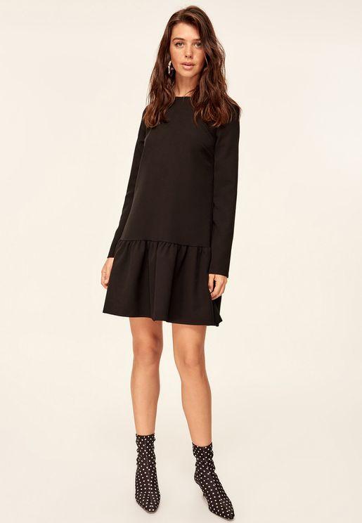 فستان بنمط بيبلوم مع أكمام طويلة