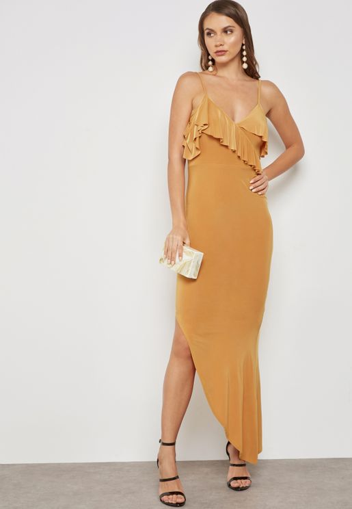 Ruffle Asymmetrical Hem Maxi Dress