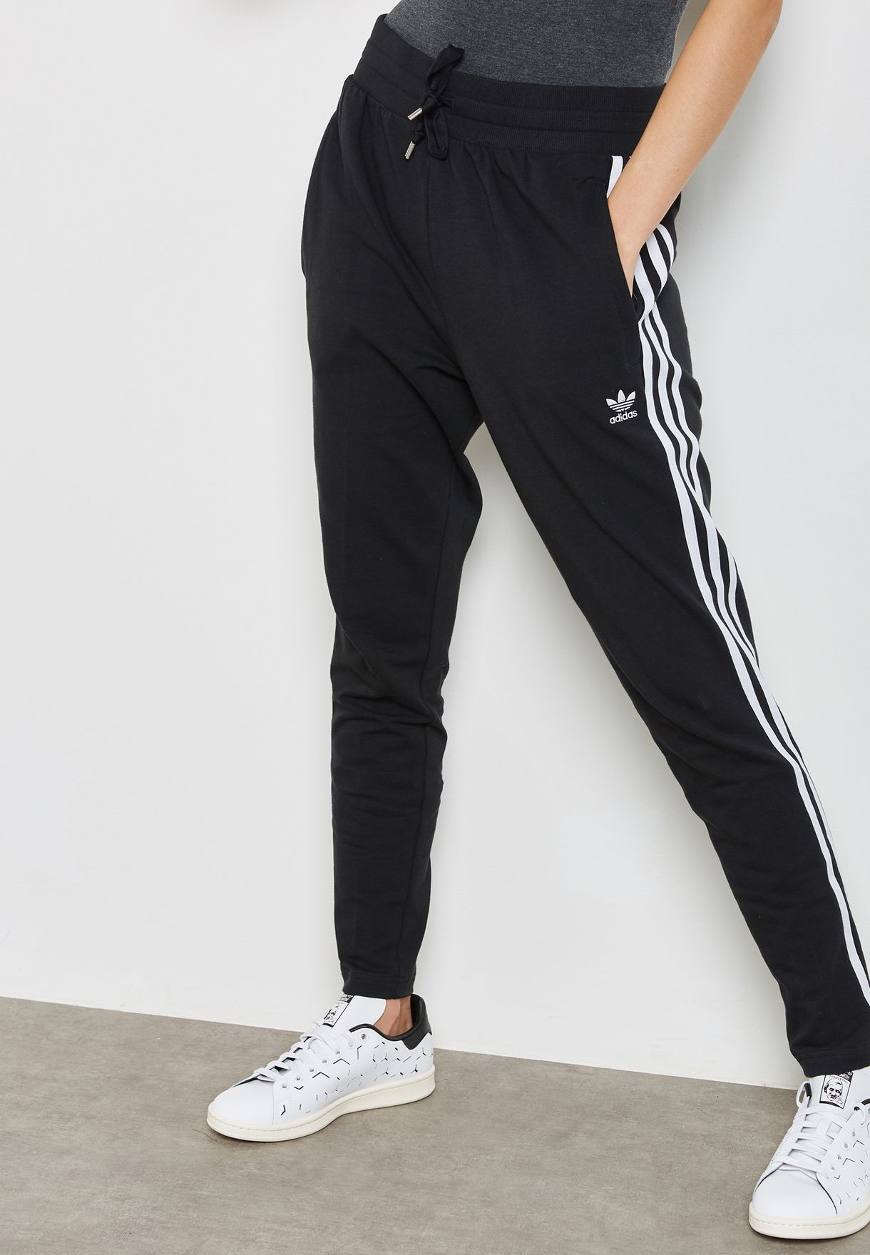 7595e307e19 Shop adidas Originals black 3 Stripe Sweatpants CY7479 for Women in ...