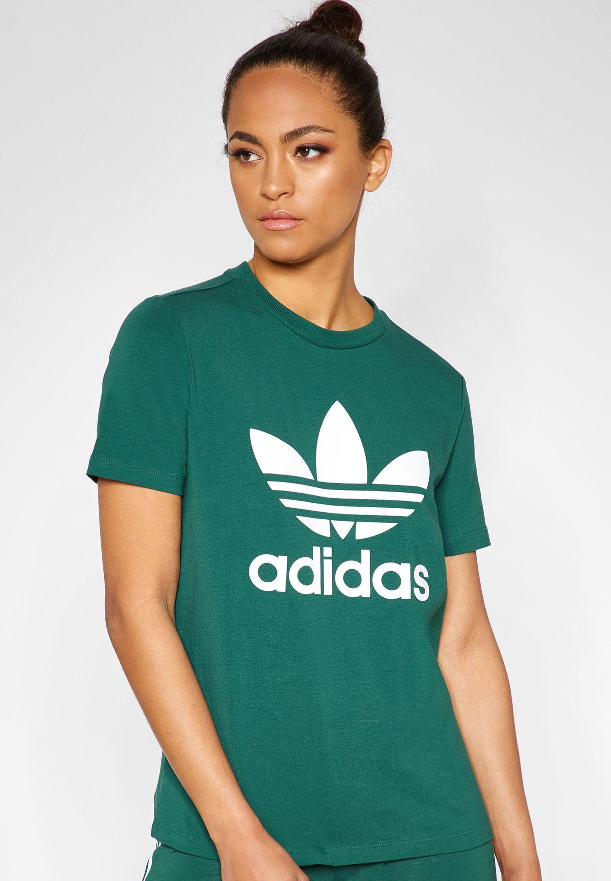 4bc494cd54 Shop adidas Originals green Trefoil T-Shirt DV2597 for Women in ...