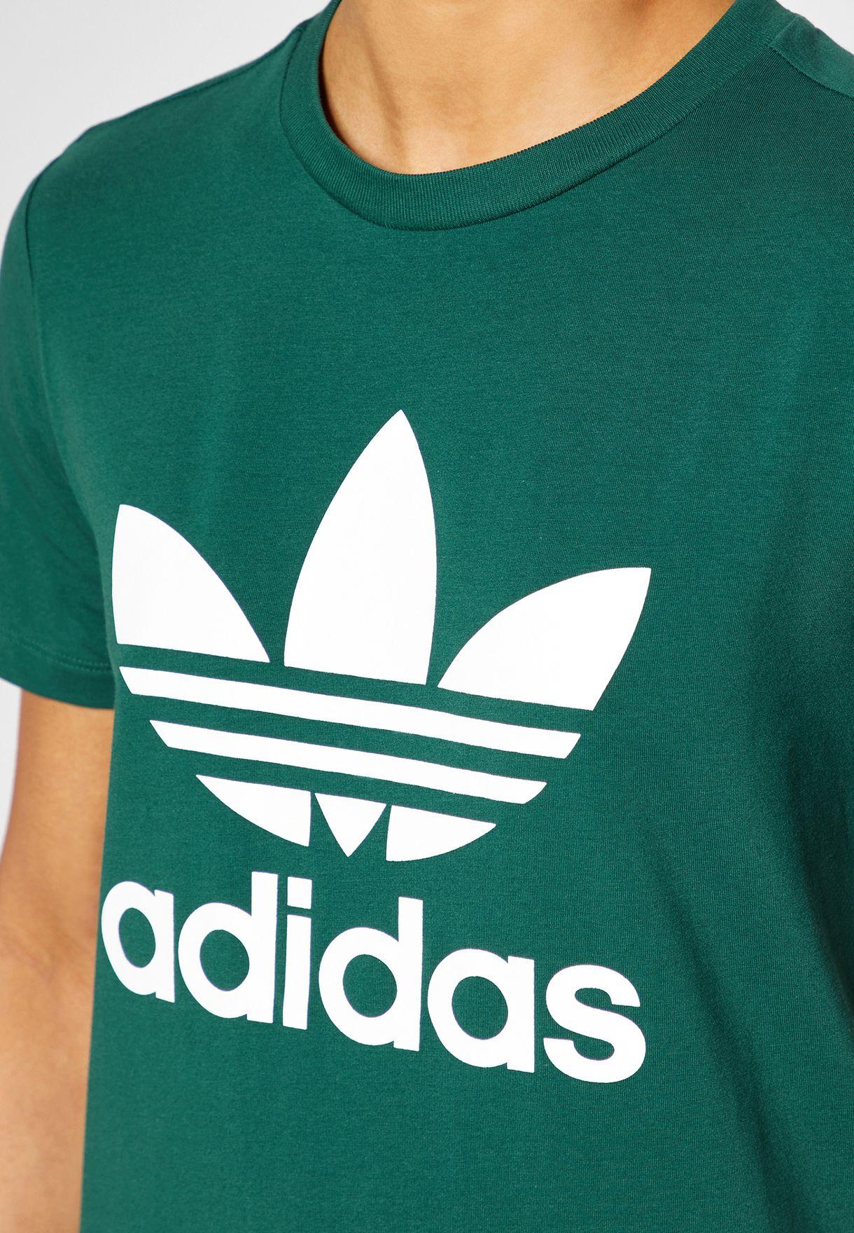 Shop adidas Originals green Trefoil T-Shirt DV2597 for Women in UAE ... 4c2bc0fb33