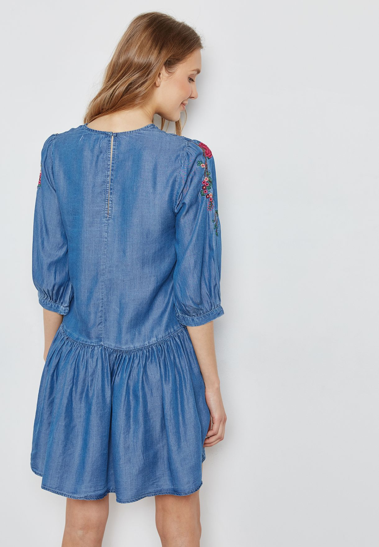 Pleated Embroidered Denim Dress