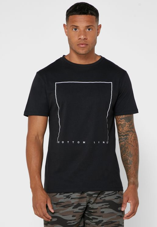 Bottom Line Print Crew Neck T-Shirt