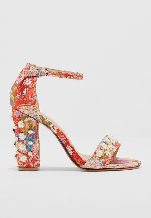 Brocade Pearl Embellished Block Heels