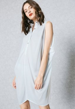 Button Front Draped Dress