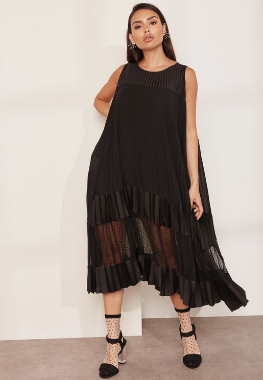 Pleated A-line Sheer Insert Dress