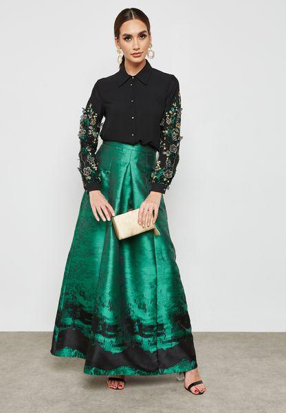 Printed Hem Box Pleat Skirt