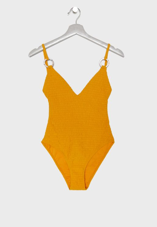 Ring Detail Shirred Swimsuit