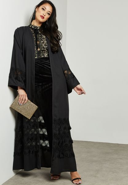 Mesh Insert Fringed Detail Abaya