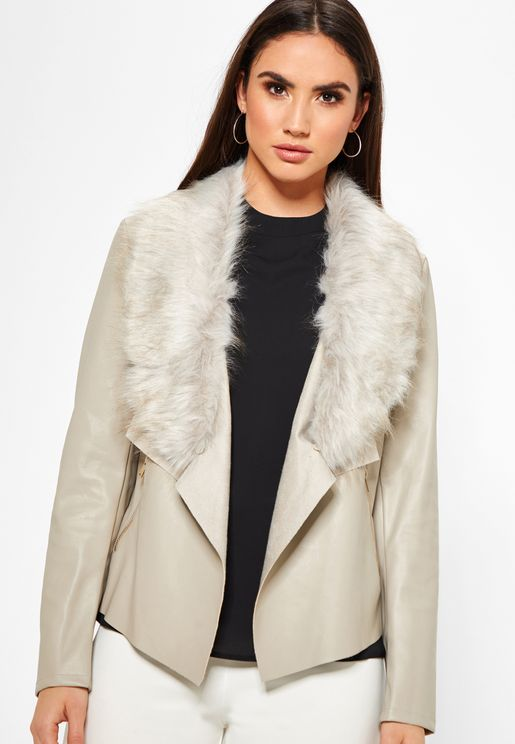 Faux Fur Collar Waterfall Jacket