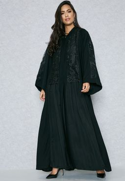 Lace Detail Pleated Abaya
