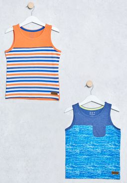 Little 2 Pack Stripe Print T-Shirts