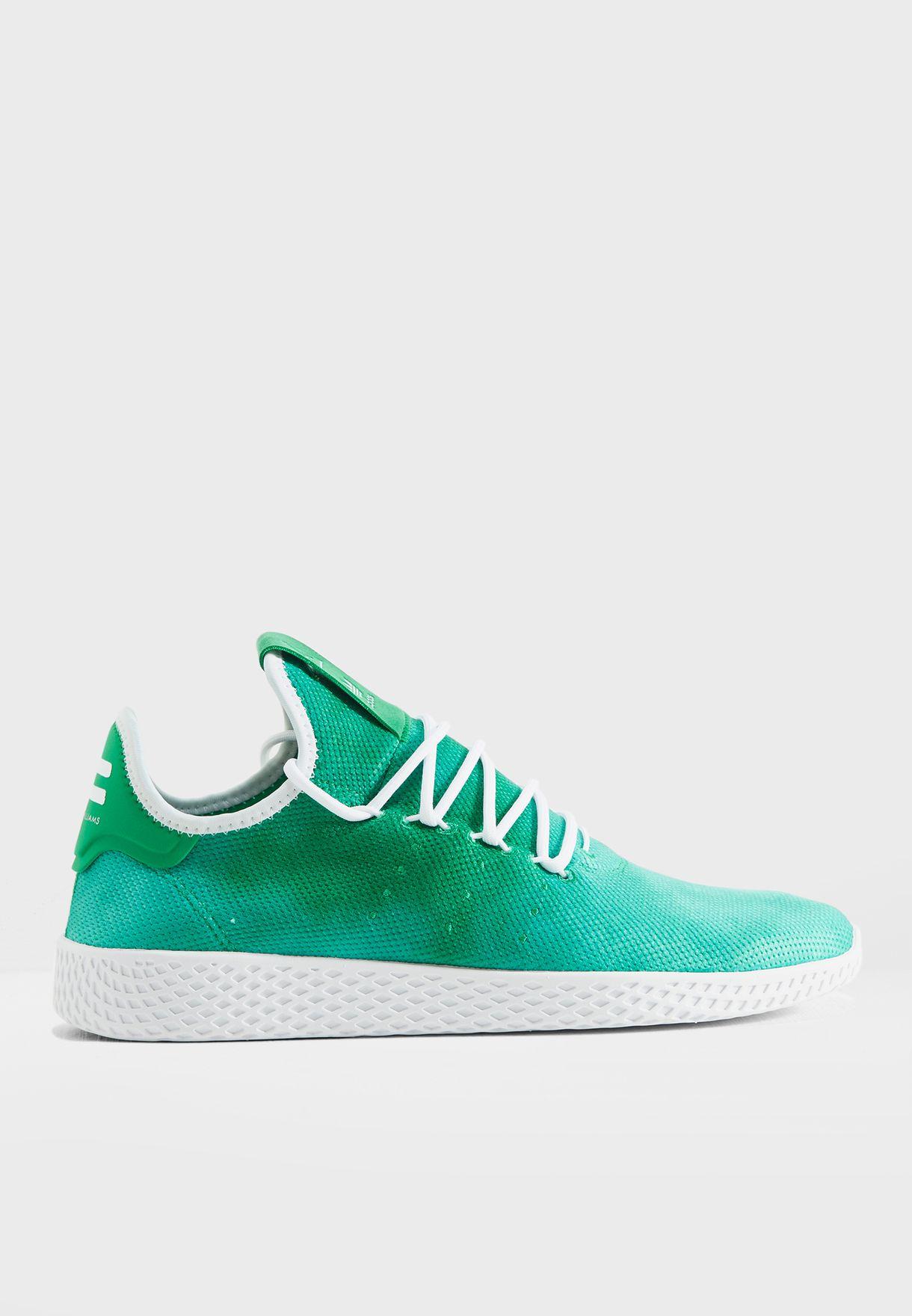 92ab06ca90736 Shop adidas Originals green Pharrell Williams Hu Holi Tennis DA9619 ...