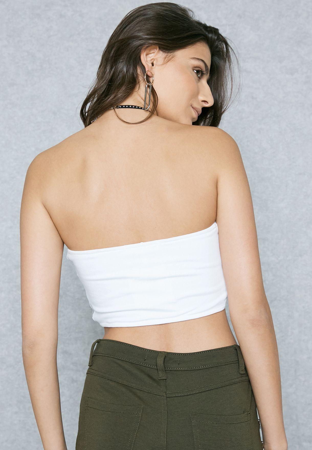 78f9ba9500731 Shop Missguided white Twist Front Bandeau Crop Top TJ412758 for ...
