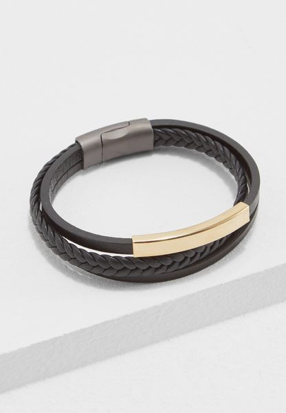 Braided Leather Magnetic Lock Bracelet