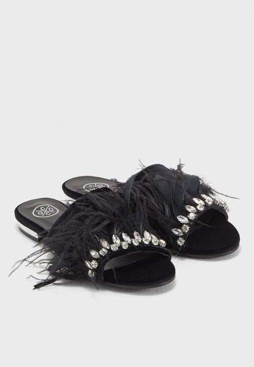 Sookie Embellished Faux Feather Sandal