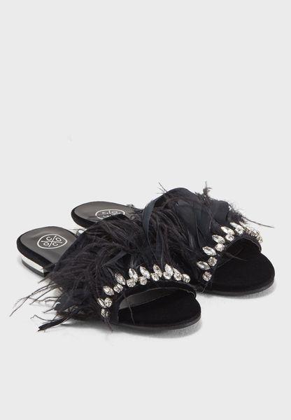 Sookie Embellished Faux Feather Sandal