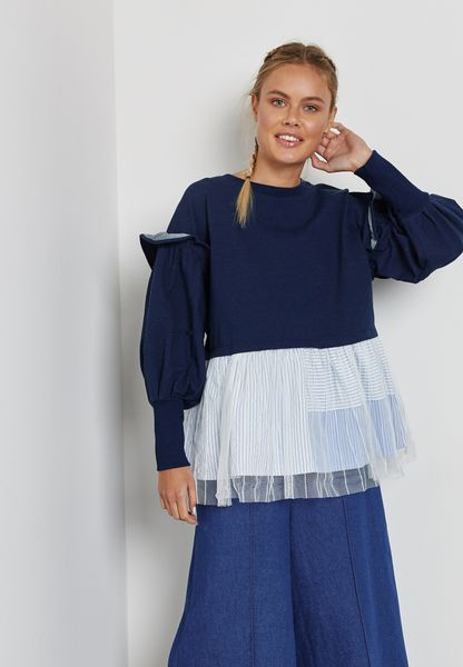 Ruffle Detail Colourblock Sweater