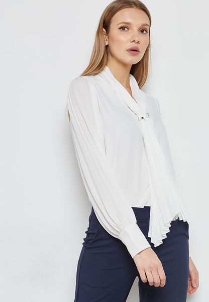 Pleated Scarf Pearl Detail Top