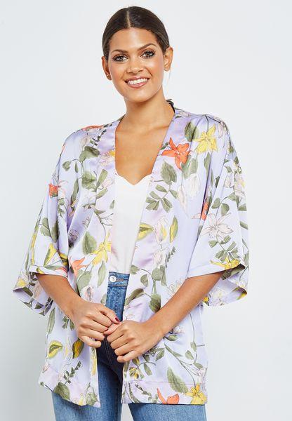 Tie Waist Printed Kimono