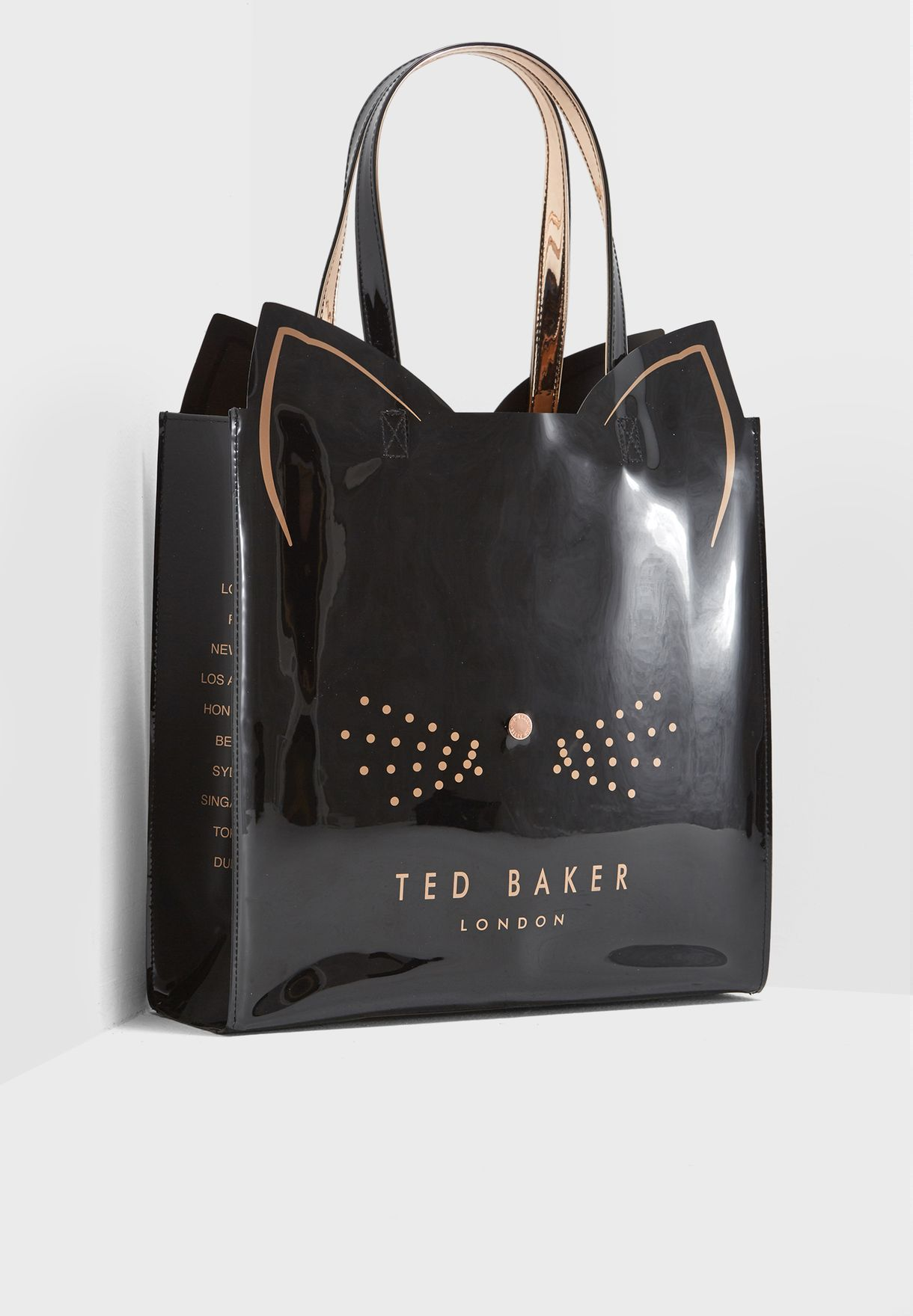 f2b60a64b Shop Ted baker black Felicon Cat Large Icon Shopper 147463 for Women ...