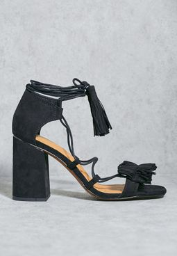 Fringed Front Block Heel Sandals