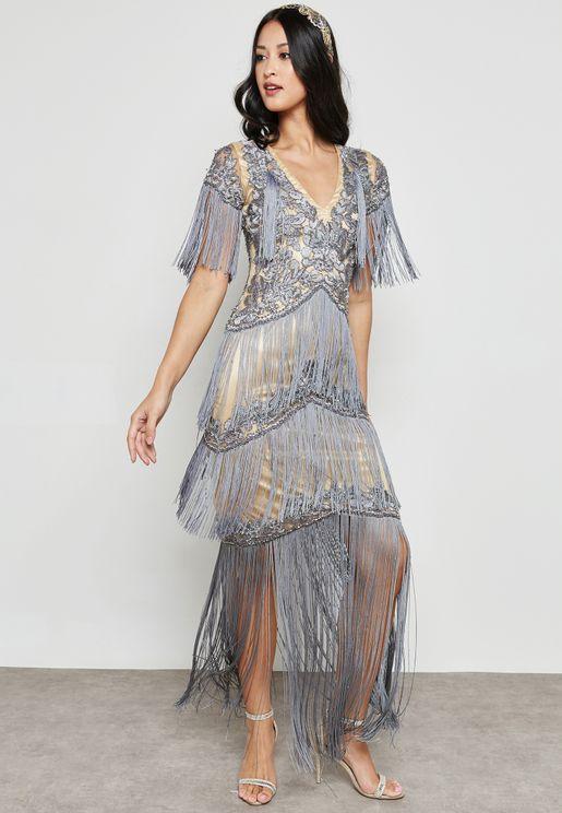 High Neck Embellished Fringe Maxi Dress