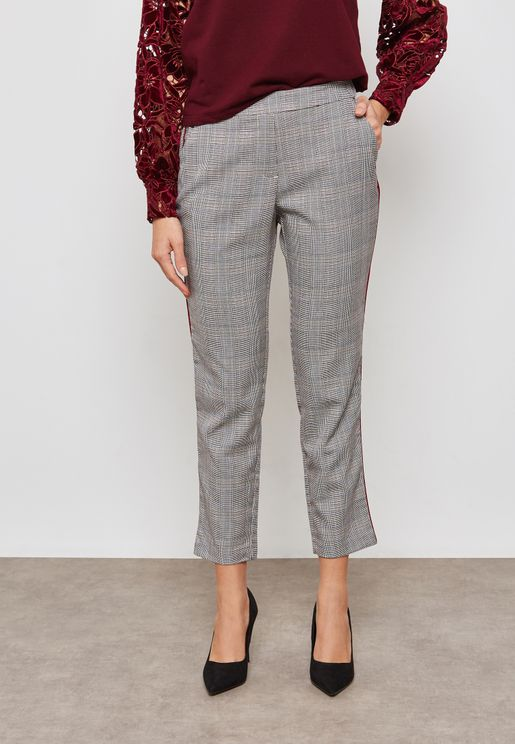 Checked Side Paneled Pants