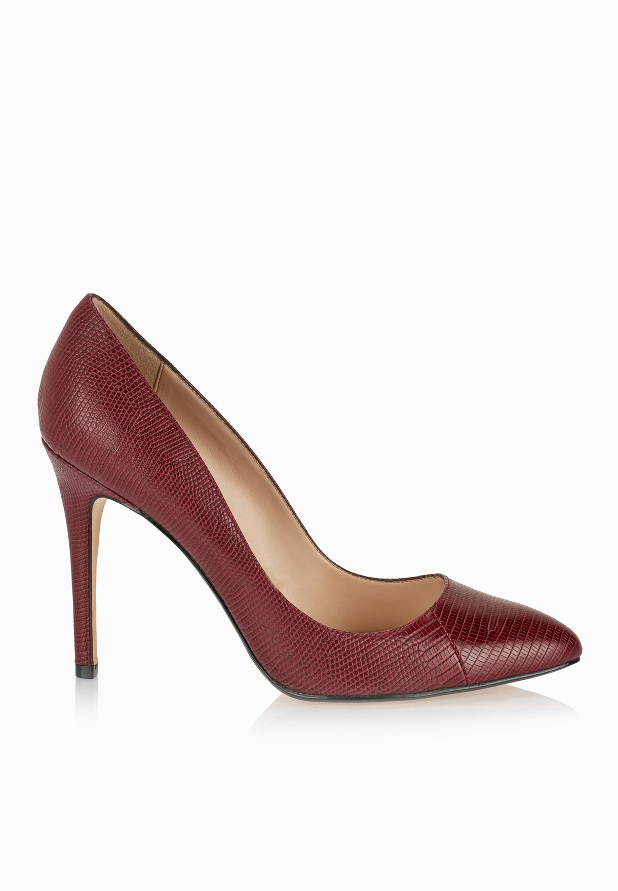 a579a88710 Shop Mango burgundy Mia Snake Finish Pumps 74045014 for Women in ...