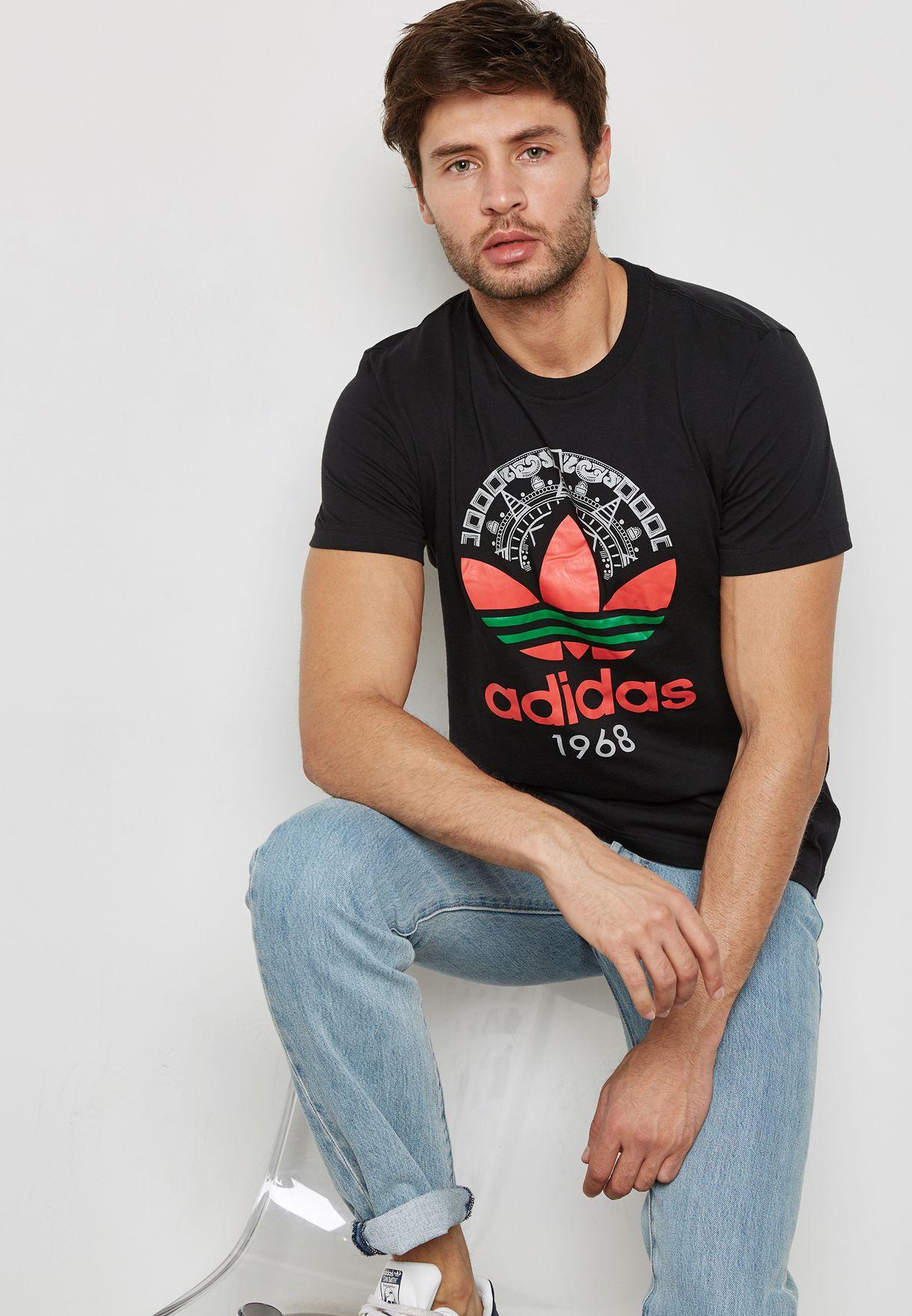 Shop adidas Originals black Trefoil T-Shirt CD6825 for Men in UAE ... 2ee2a0263a