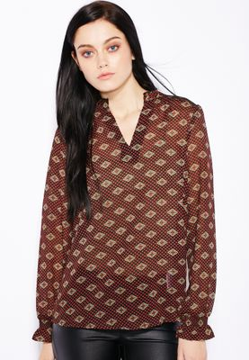 Ginger Frill Detailed Printed Top