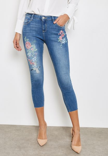 Ankle Grazer Embroidered Jeans