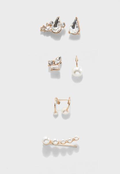 Pack of 6 Gem Stud Earrings