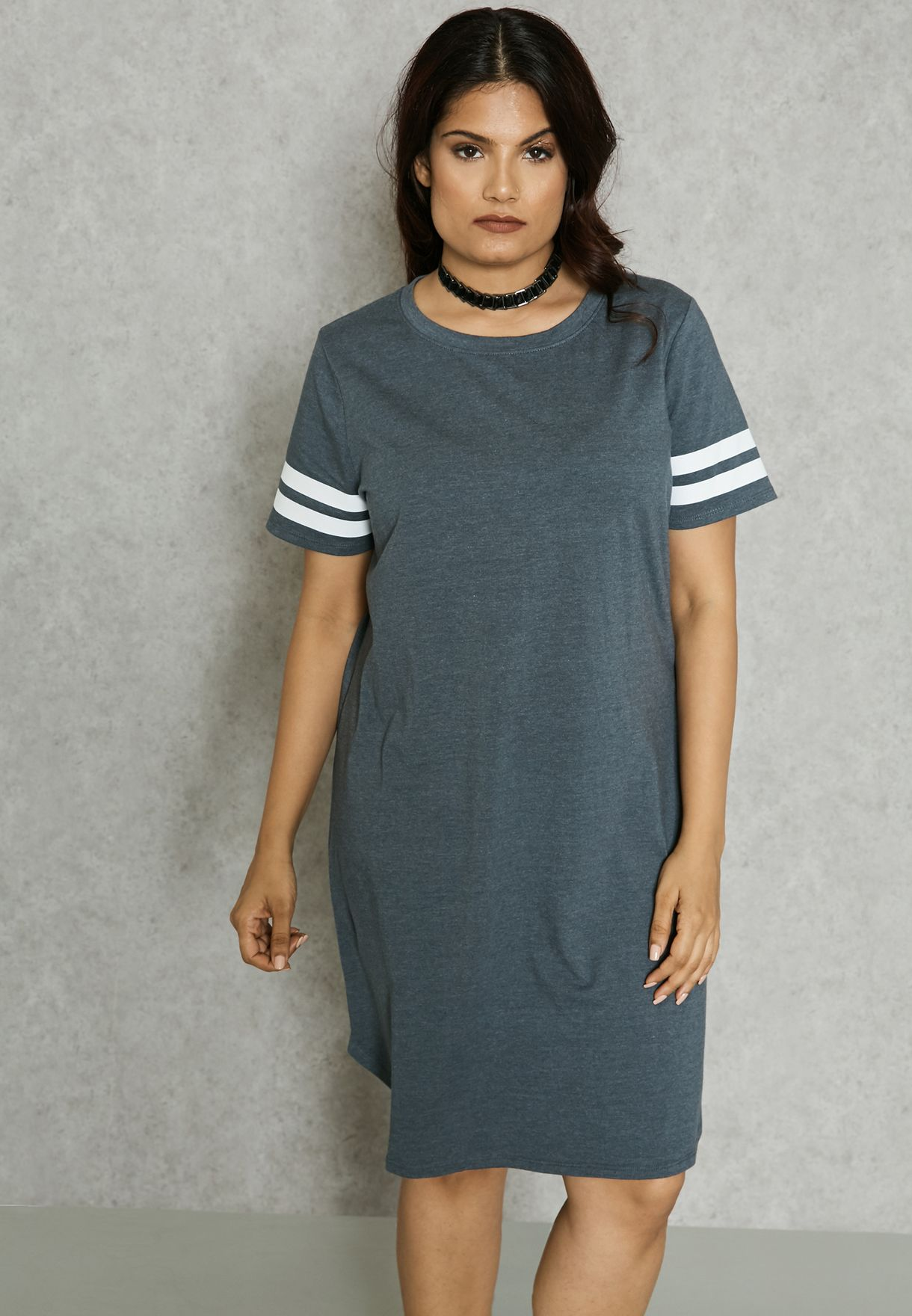 bb86b01e1f9 Shop Forever 21 Plus grey CURVE Varsity T-Shirt Dress 228093 for Women in  Saudi - FO071AT63NZK