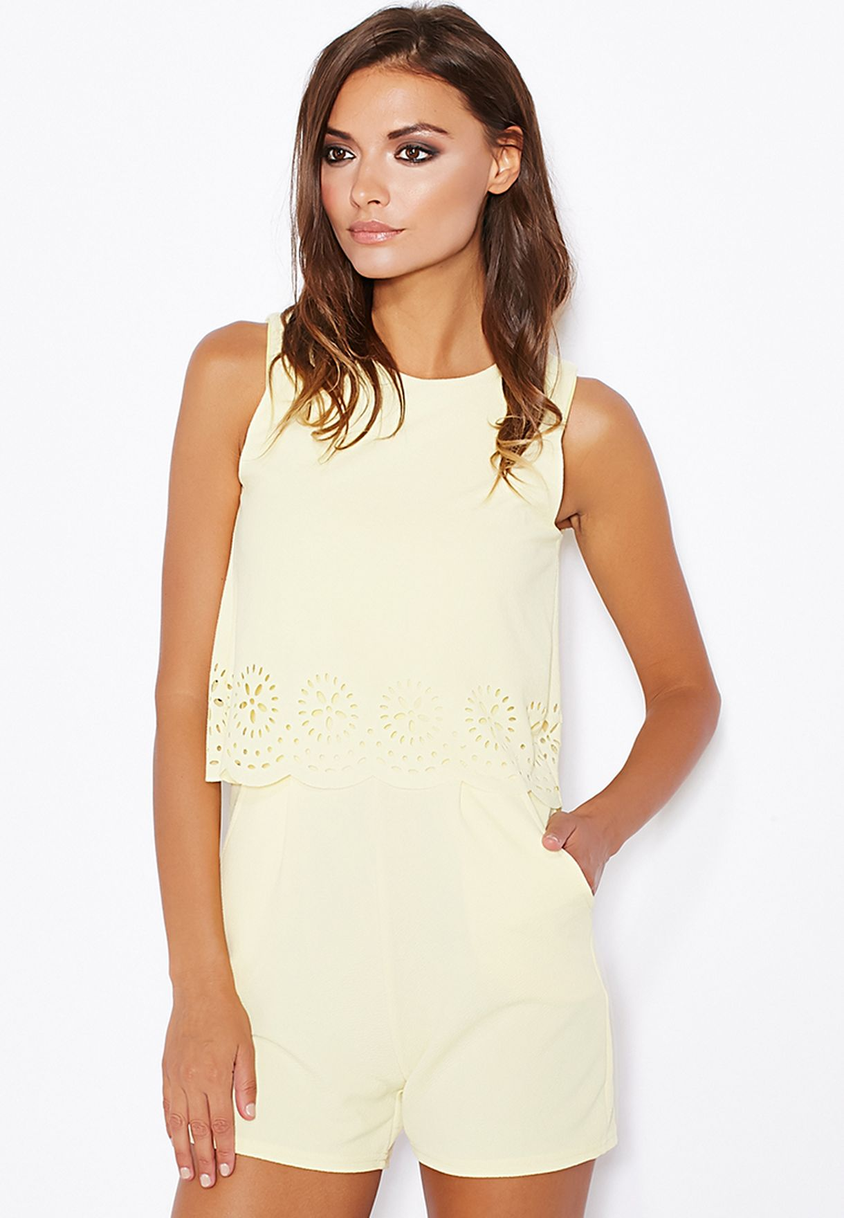 4a71203db55 Shop Ginger yellow Laser Cut Overlay Playsuit for Women in UAE ...