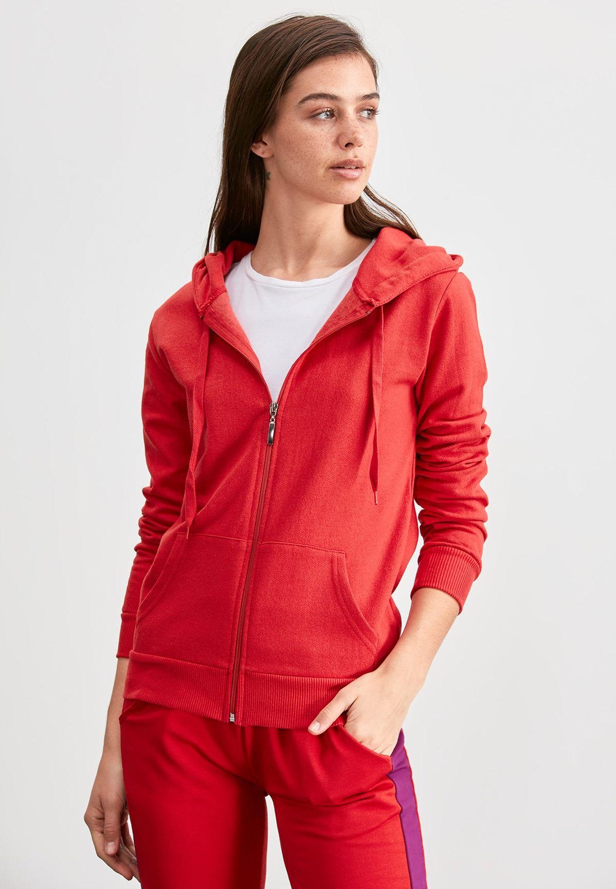 Buy Trendyol Red Full Zip Hoodie For Women, Uae 27680atb3ykp