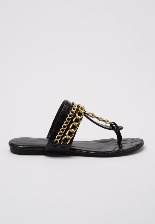 Chain Detail Flat Sandal