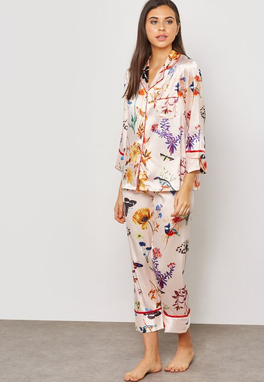 Printed Shirt Pyjama Set