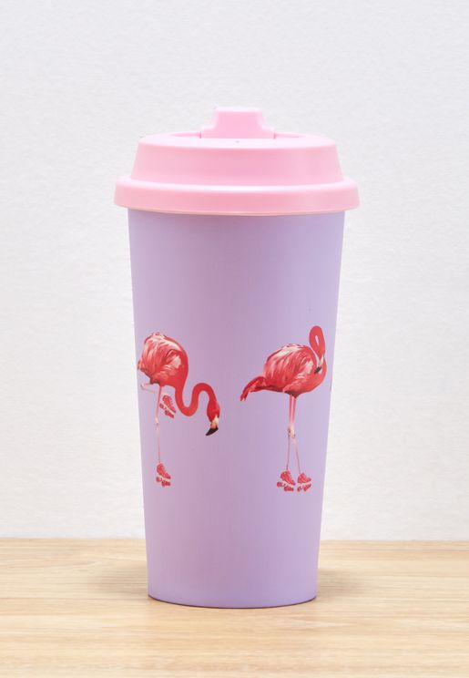 Flamingo Rollerskate Travel Mug