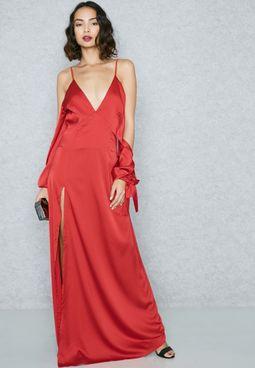 Cold Shoulder Satin Maxi Dress