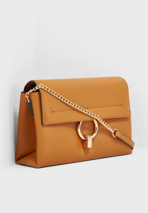 Ring Buckle Flap Over Crossbody